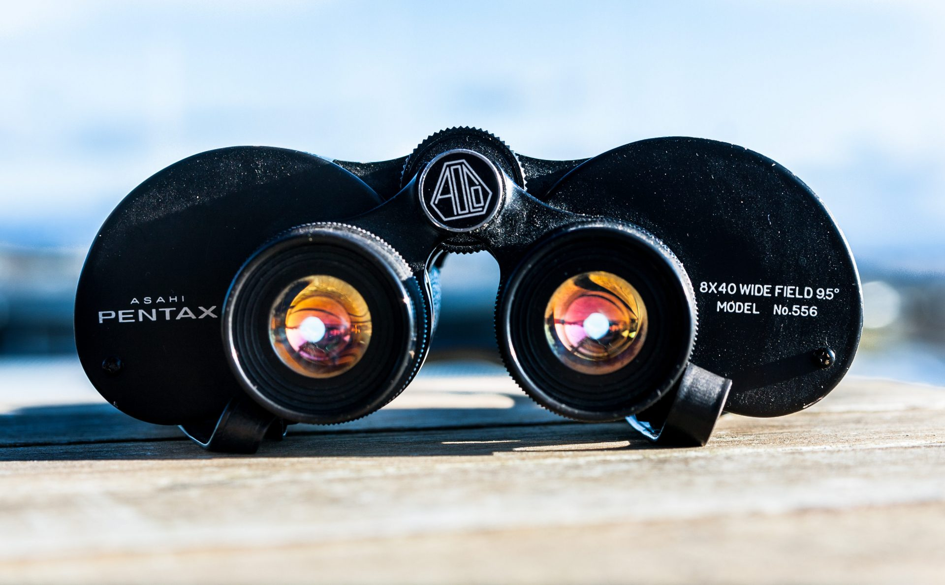 black binoculars on ledge