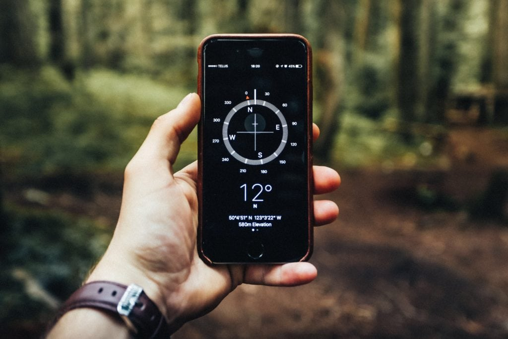 digital compass in forest