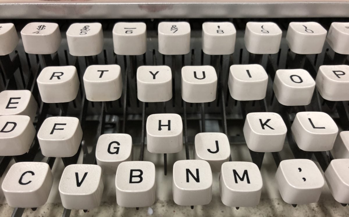 white typewriter keys